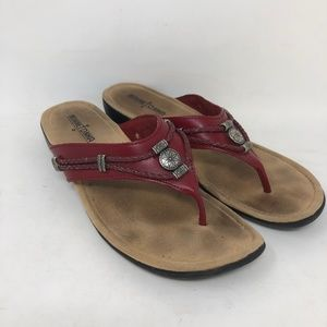 Minnetonka Red Leather Flip Flops